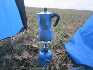 Drinking coffee on the Camino Santiago