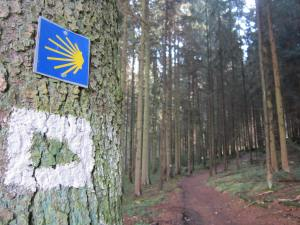 Camino de Santiago scallop shell signs in Bavaria