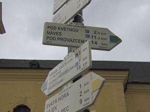 Camino Santiago trail markings in Pribram