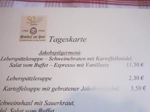 Pilgrim menu