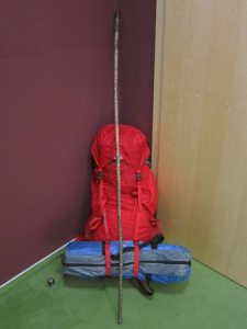 Camino Santiago rucksack, tent, and walking stick