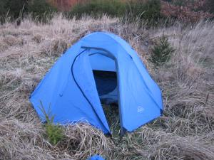 Camoing in a tent on the Camino de Santiago