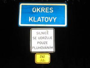 Klatovy County road sign