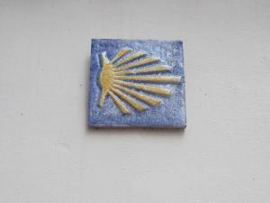 Camino scallop shell in the centre of Dillingen