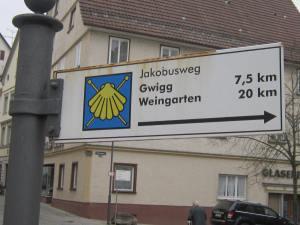Jakobsweg Camino signs in Bad Waldsee
