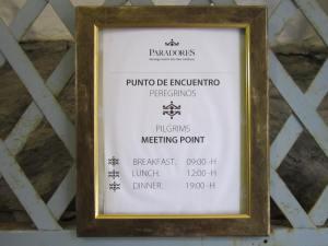 Pilgrim free meal times at Hotel Parador in Santiago de Compostela