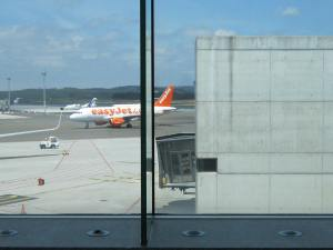 Easy Jet flight at Santiago de Compostela international airport