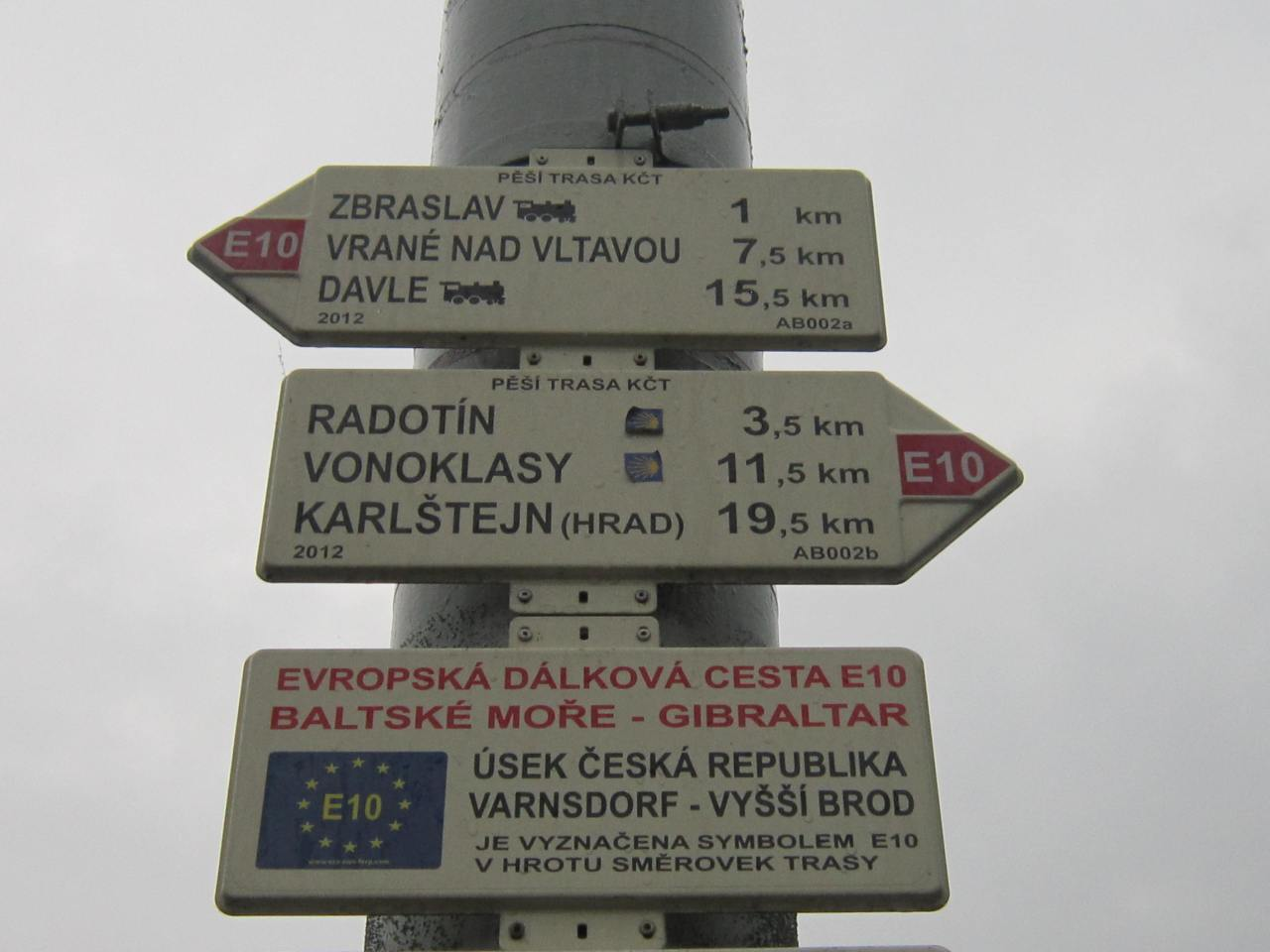 Camino de Santiago way marking signs in the Czech Republic