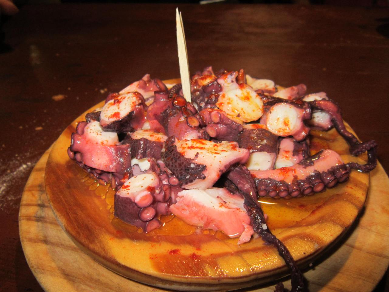 Eating Octopus in Melide