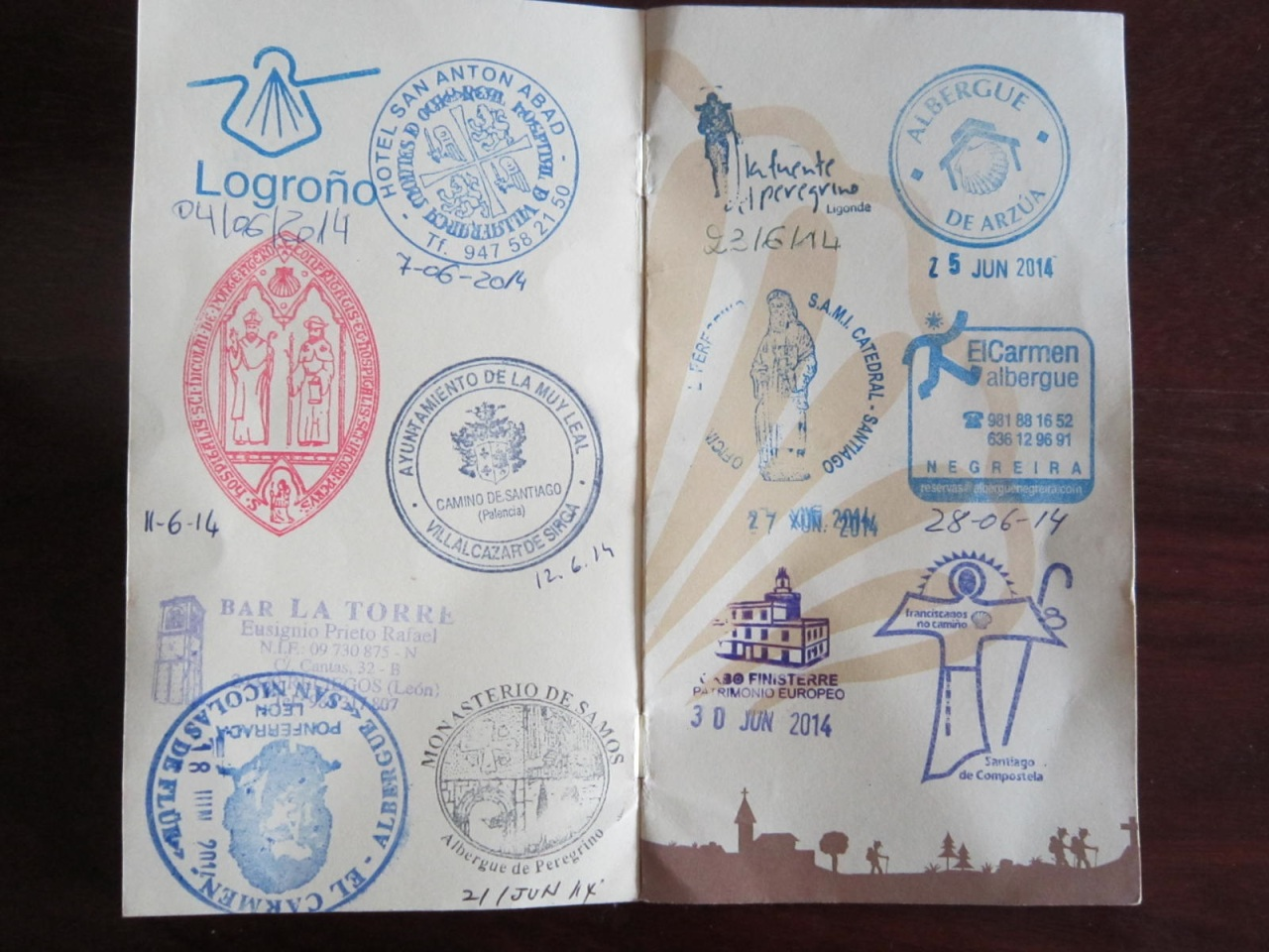 Logrono to Finisterre pilgrim passport stamps