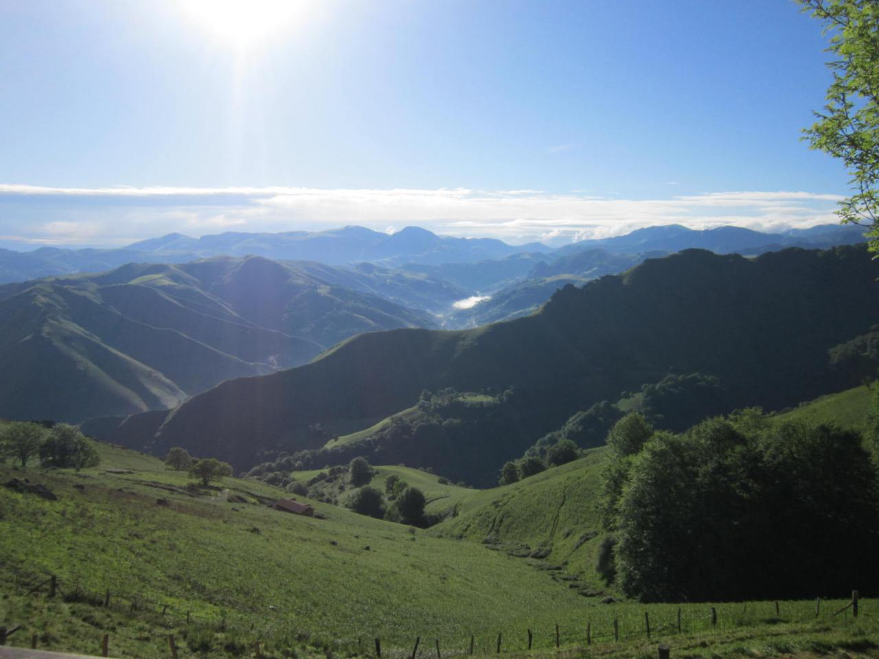 Left view on the walk up into the Pyrenees from St. Jean Pied de Port to Roncesvalles on the first day of the Camino Frances/FrenchWay