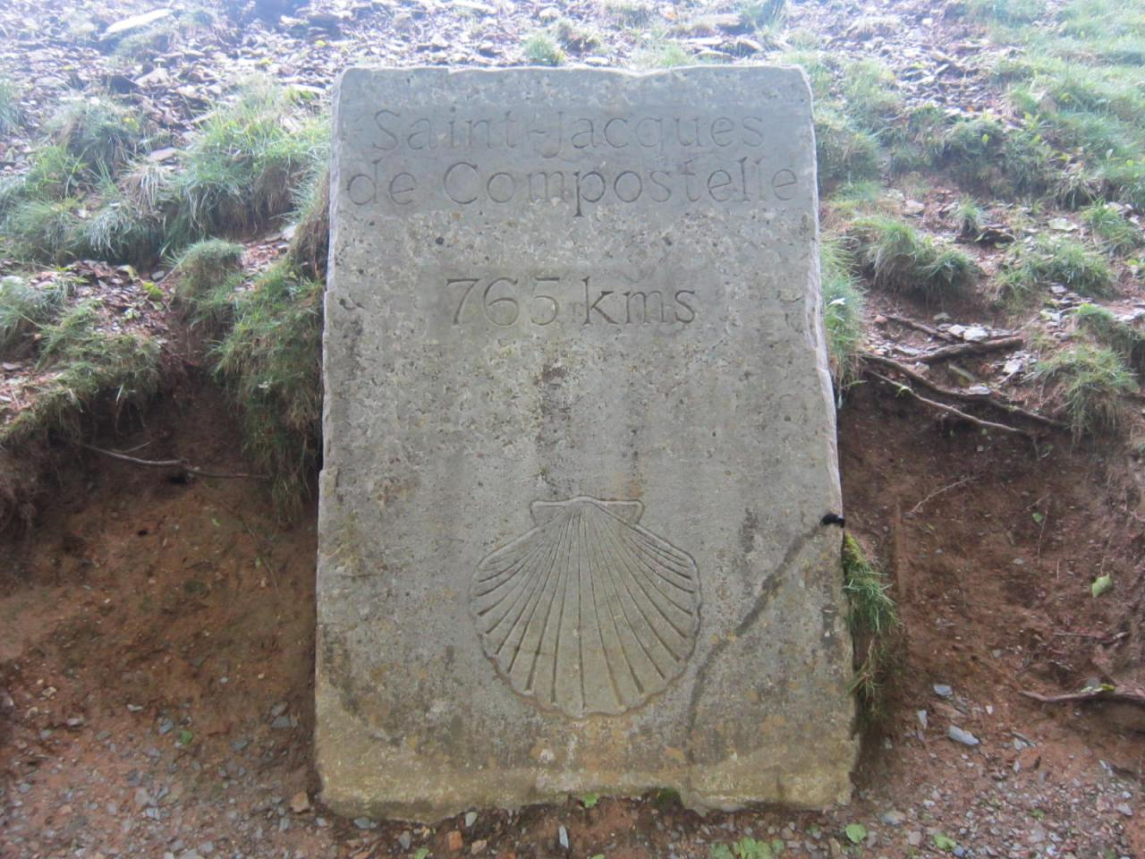 765km stone marker to Santiago de Compostela as you cross into Navarre on the first day on the Camino Frances/FrenchWay