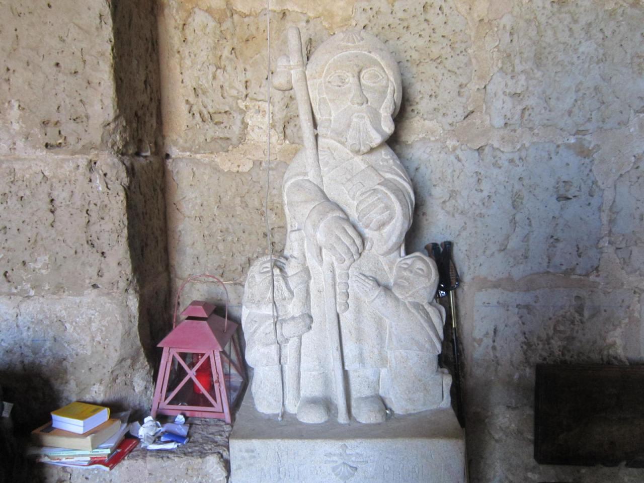 Pilgrim statue at Ermita de St Nicolas (in the Meseta on the Camino Frances/FrenchWay)