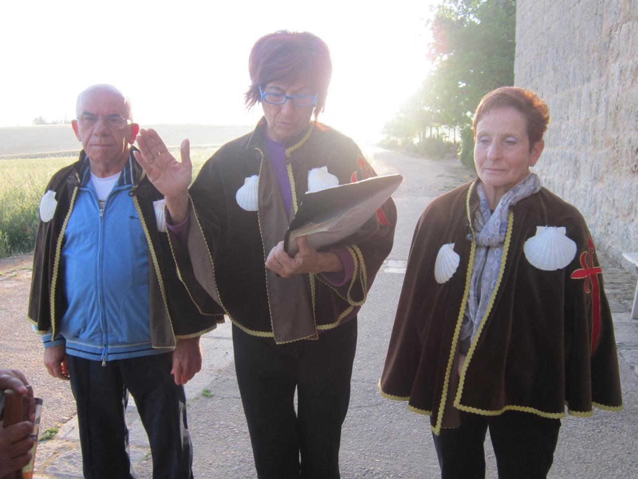 Morning prayers leaving the Ermita de San Nicolas on the Camino Frances/FrenchWay