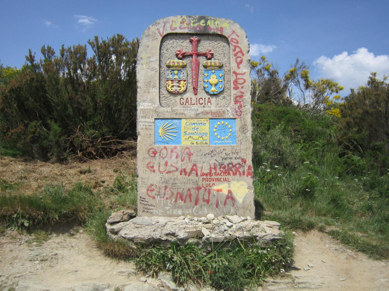 Welcome to Galicia sign approaching Cebreiro on the Camino Frances/FrenchWay