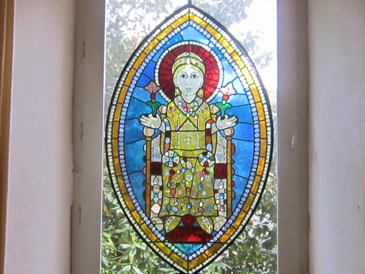 Sainte Foy stained glass window at Conques on Le Puy Way